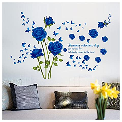 Wall Decal Fuibo Rose Flower Removable PVC Wall Sticker Home Decor Room Decal (Blue)