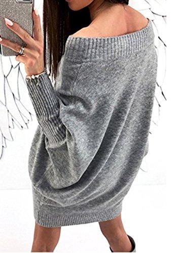 ASSKDAN Damen Elegant Schulterfrei Langarm Lose PulloverKleid Strickkleid Sweater Oberteile Oversized Sweatshirt Tops Lang