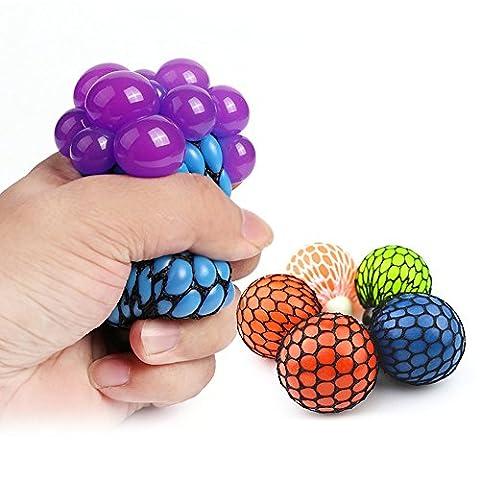 Boule à mailles Squishy Anti Stress Squeeze Bouteille de raisin Relevez le jouet à boule de pression avec couleur aléatoire - 1 PCS