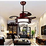 UZI-Restaurante silencioso ventilador techo ventilador luces, lámpara de pergamino metal vintage dormitorio ventilador