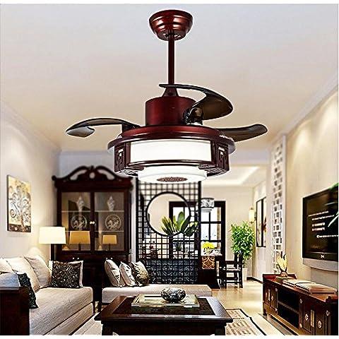 SSBY Restaurante silencioso ventilador techo ventilador luces, lámpara de pergamino metal vintage dormitorio