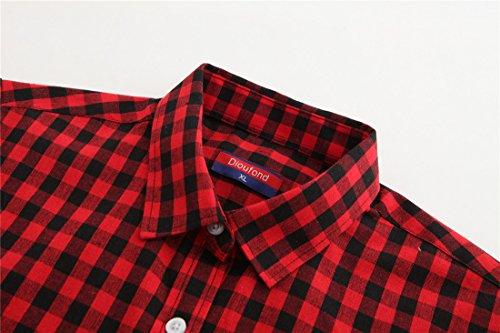 Dioufond Damen Traditionell Kariert Bluse Baumwolle Plaid Tunika 5 Farben Hemd Schwarzrot