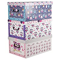 Easygift Products 3 Underbed Collapsible Cardboard Storage Boxes Lightweight With Lids & Handles