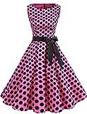 Gardenwed Vestidos Mujer Sin Mangas Cóctel Fiesta Retro Pin Up Pink Black Dot XS