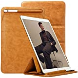 TOOVREN Ultra Dünn Ledertasche für iPad Air 3 Generation 10.5 Zoll 2019/ iPad Pro 11 2018/ iPad Pro 10.5/9.7 Hülle Sleeve - Tragbare Leder Bag Schutzhülle mit Apple Pencil Halter - Braun