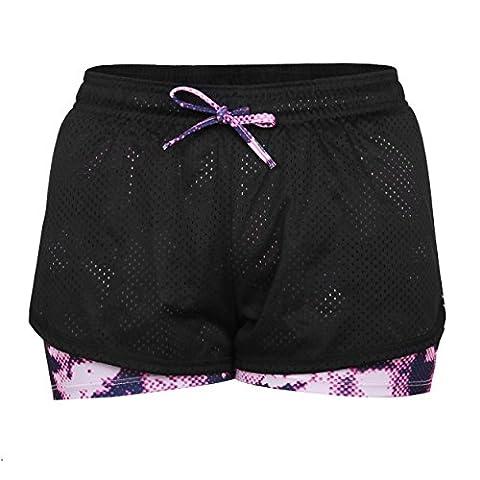 Eizur 2 in 1 Damen Shorts Kurze Hosen Sport Shorts Yoga Fitness Running Hot pants Yogahose Sporthose Trainingshose Jogginhose Pants Stretch Short Size S-Rose Rot 2