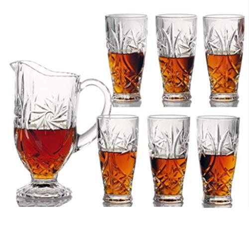 Yycdd set di 7 pezzi - tazza di whisky, cristallo trasparente senza piombo, boccale di birra decanter confezione regalo bottiglia di vetro, alla moda/la scelta migliore