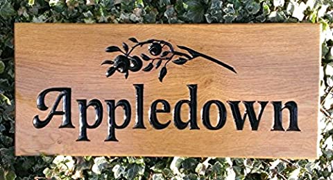500 x 220mm Extra Large Wooden House Sign Plaque Door Number Street Sign with Large Name and Large Scroll from BRAMBLE SIGNS. BRANDED FOR QUALITY ASSURANCE