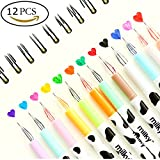 Fineliner Color Pen Set, SAYEEC 0.38 mm Gel Pen Diamond Tips Fine Line Drawing Colour Gel Pen Set of 12 Coloured Markers Micro Line Pen for Coloring Book and Bullet Journal Art Projects