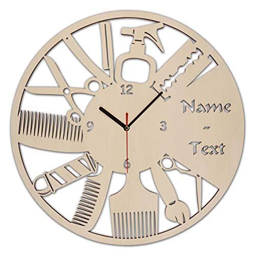 Wand Uhr Friseursalon Geschenke Geschenkartikel Eröffnung Geburtstag Friseurin Friseur mit Gravur aus Holz personalisiert - Wand-uhr Personalisierte