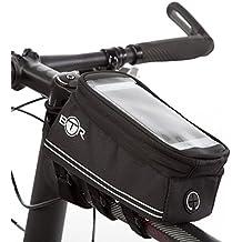 Alforja de bicicleta BTR con soporte para el teléfono – Bolsa impermeable para el marco de la bici. Negra. Nueva edición 2017 mejorada, apta para TODAS las bicicletas