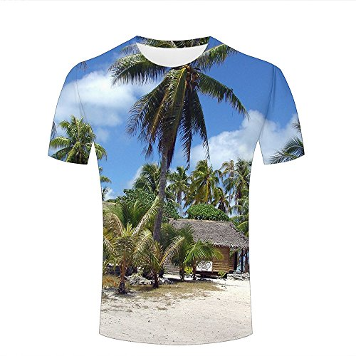 2309b2d98f4e Mens Womens Casual Design 3D Printed Coconut tree Graphic Short Sleeve  Couple T-Shirts Top