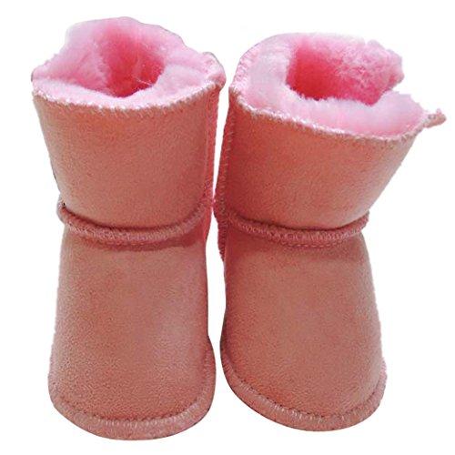 Tangda 1 Paire Bottes de Neige Bébé Fille Garçon Bottines Chaussures Premiers Pas Chaud Hiver Chaussons pour 0-18mois Multicolore Optique Rose
