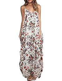 e904e13512 Romacci Women Boho Floral Print Dress Spaghetti Strap Bohemian Beach Dress  Loose Long Maxi Plus Size Dress