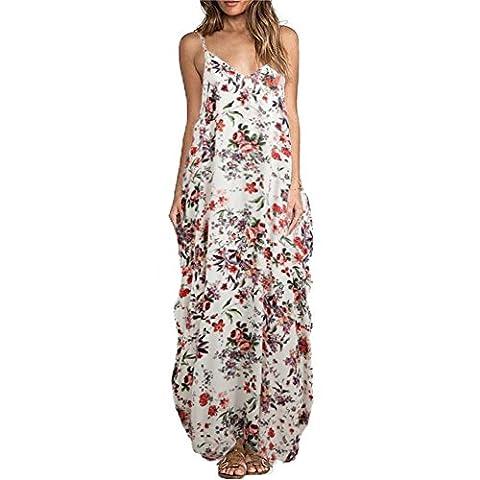 Romacci Women Boho Floral Print Dress Spaghetti Strap Bohemian Beach Dress Loose Long Maxi Plus Size