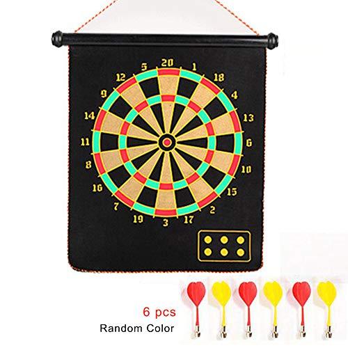 Outtybrave Creative Indoor Target Game 43,2 cm doppelseitiges magnetisches Dartboard 6 magnetische Dartpfeile