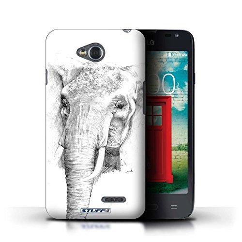 Kobalt® Imprimé Etui / Coque pour LG L65/D280 / Aigle / Oiseau conception / Série Dessin Croquis éléphant