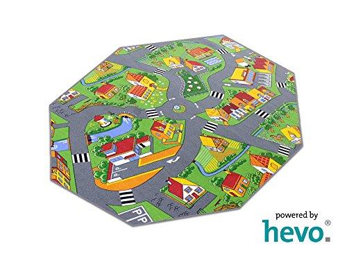HEVO Stadt Land Fluss Prägerücken Teppich | Spielteppich | Kinderteppich 200x200 cm Achteck