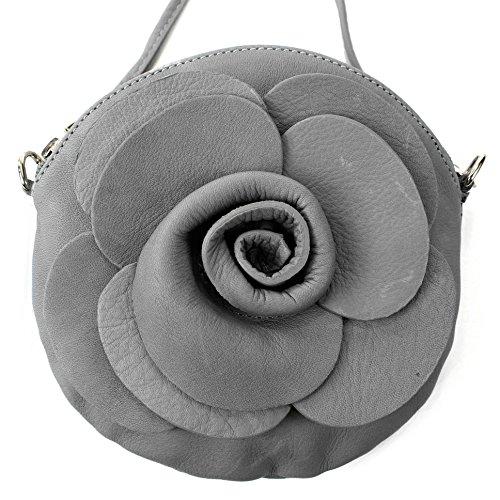 Italiana. Borsa da donna borsa a mano borsa a tracolla Girl City Borsa a tracolla a forma di fiore mini T128 Grau