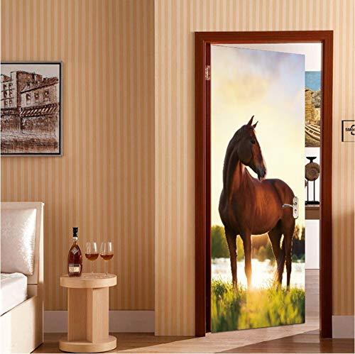 Tierpferde-Tür-Aufkleber-Korridor-Tapeten-Plakat-Wand-Aufkleber-Büro-Schlafzimmer-Wohnzimmer-Ausgangsdekoration 77X200Cm ()