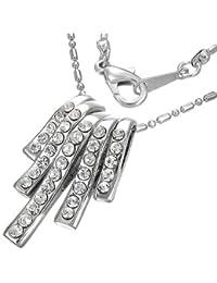 Mode Kristall geometrisch lange Röhre Charm Halskette mit Zirkon - Weiß