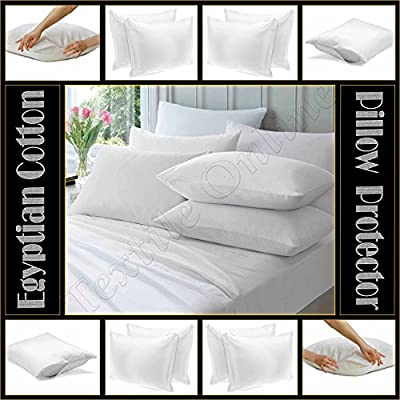 Textile Online 5* Hotel Quality Pair of Pillow Protector Anti Allergy Zipped Egyptian Cotton