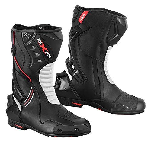 in Vera Pelle da Uomo Moto Motocicletta Blindata Touring Racing Sports Protezione Sicurezza Scarpe Stivali | Bianco & Nero