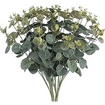 sogyupk 2ramos artificiales hojas de eucalipto hojas de seda realista Artificial Plantas Arbustos Natural para al aire libre casa cocina cuadro balcón para cesta colgante decoración