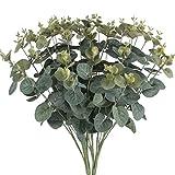 sogyupk 2Blumensträuße Künstlicher Eukalyptus-Blätter Seide, Blattwerk Realistische Fake Pflanzen Natur Sträucher für draußen Home Kitchen Tisch Hängekorb Balkon Dekorationen