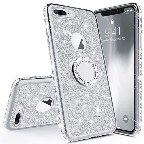 Homikon Silikon Hülle Kompatibel mit iPhone 7 Plus/8 Plus Überzug TPU Bling Glitzer Strass Diamant Schutzhülle mit 360 Grad Ring Ständer Soft Flex Durchsichtig Silikon Handyhülle Tasche Case - Silber -