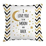 FAFANI I Love You Throw Pillow Cushion Cover, Ornamental Love Amusement Emotional Celebration Hand Drawn Zig Zags Stars, Decorative Square Accent Pillow Case, 18 X 18 Inches, Black Pale Brown