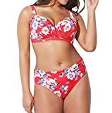B-commerce Large Split Bikini Sets Donna Plus Size Stampa Floreale Reggiseno Imbottito Body Costume da Bagno Beachwear