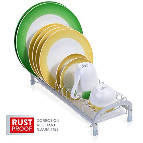 Tatkraft Helper Escurreplatos de Aluminio Anodizado Incorrosible con Bandeja 40,5X15XH9 cm