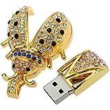 Jungen metal rhinestone forma de escarabajo unidad flash USB 2.0(32G)