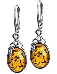 Honey Amber Sterling Silver Classic Small Grape Leaves Leverback Earrings