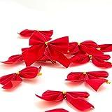 12er Set rote Weihnachtsschleifen zum dekorieren von Weihnachtskranz oder Weihnachtsbaum, Deko Schleifen