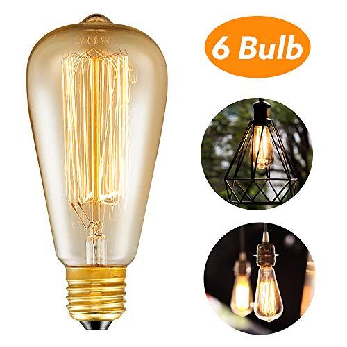Trounistro Edison Vintage Glühbirne, E27 Edison Glühbirne Vintage Retro Glühbirne Retro Lampe Retro Beleuchtung Dimmbar Edison Glühlampe Vintage Lampe Bulb Ideal für Café Bar usw - 6 Stück