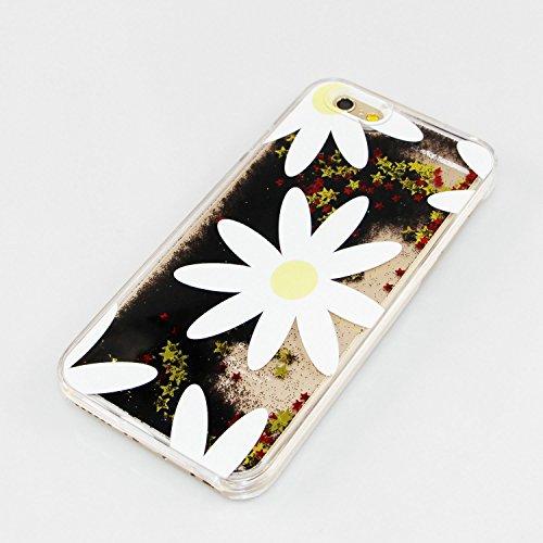 iPhone 6S Plus Hülle,iPhone 6 Plus Hülle,iPhone 6 Plus Case,EMAXELERS Bling Luxus Shiny Sparkle Kristall Rosa Herz der Liebe Design Hard Haut zurück Tasche Schutzhülle Funny 3D Fließen Flüssig Schwimm T Black Liquid 5
