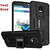 Yes2Good Hybrid Military Grade Armor Kick Stand Back Cover Case For Moto G5 Plus (Black)