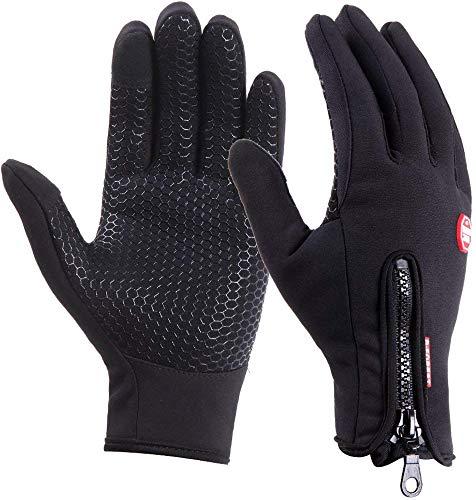 DUSISHIDAN Fahrradhandschuhe Touchscreen Handschuhe Winddicht Wasserdicht für Winter Radfahren und Outdoor Sports Herren und Damen Schwarze S