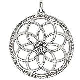 CLEVER SCHMUCK Silberner großer Anhänger Mandala Ø 40 mm Blume des Lebens mit vielen Zirkonias in der Mitte und gedrehtem Rand glänzend STERLING SILBER 925
