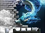 Weaeo 3D Fototapete Anpassen Drachen Brechen Die Wand Foto Wandbild Tapeten Für Kinderzimmer Cartoon Monster Hintergrund Wand-200 X 140 Cm
