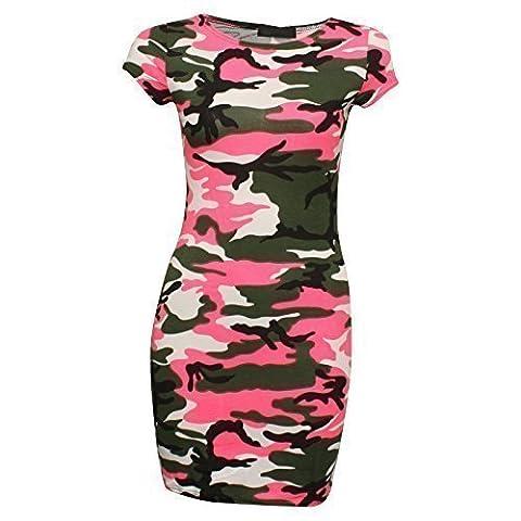 Neuf Pour Femmes Mancheron Animal Zèbre Léopard Tunique Moulante Mini Robe 36-42 - Imprimé camouflage rose néon, 40-42 (M/L)