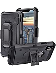 Elitehood Iphone X Case Rotating Back Splint and Stand 2 in 1 Shockproof Protective Case with 360°Swivel ,Black