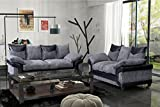 Grande Nuovo 3 + 2 Seater Sofa Set Fabric and Leather - Black and Grey