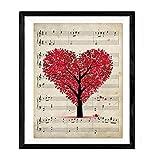 Lámina para enmarcar 'Arbol corazón sobre partitura'. Nacnic....
