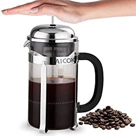 Aicok French Press Coffee Tea and Espresso Maker Cafetière 8 Cup 34 Oz Glass