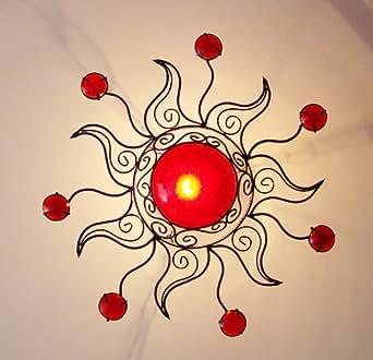 lustre plafonnier marocain fer forge 63cm soleil rouge luminaires et eclairage. Black Bedroom Furniture Sets. Home Design Ideas