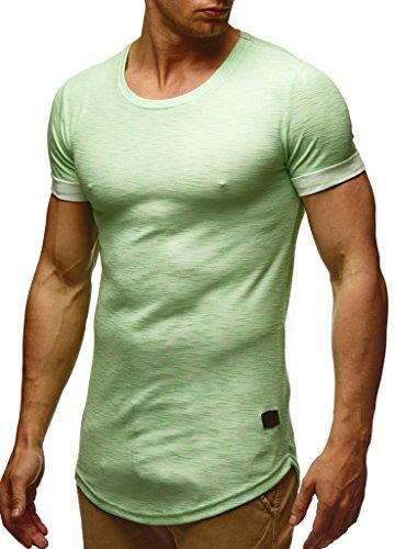 LEIF NELSON Herren Basic T-Shirt Hoodie Longsleeve Sweatshirt Rundhals Ausschnitt Kurzarm Shirt LN6356; Größe L, Mint