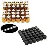 One Trillion, 36pz -1ml/2ML Amber riduttori campione/flaconcini bottiglie di vetro con foro e tappo nero per oli essenziali, Chemistry Lab, profumi, reattivo e plastica 2pipette contagocce